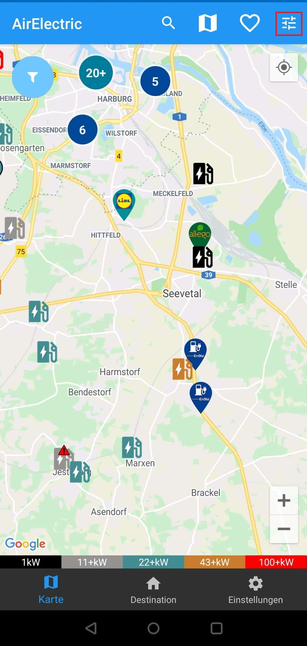 AirElectric (Android) Karte / Map