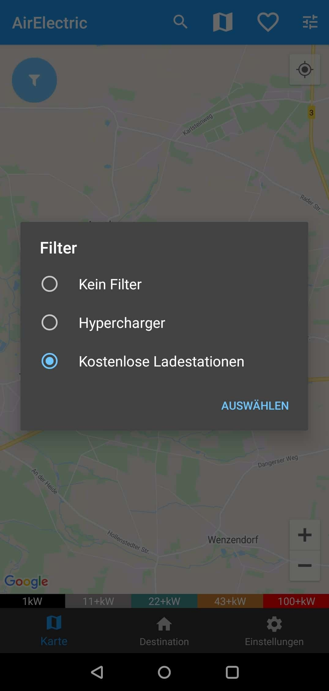 AirElectric (Android) Filter Auswahl