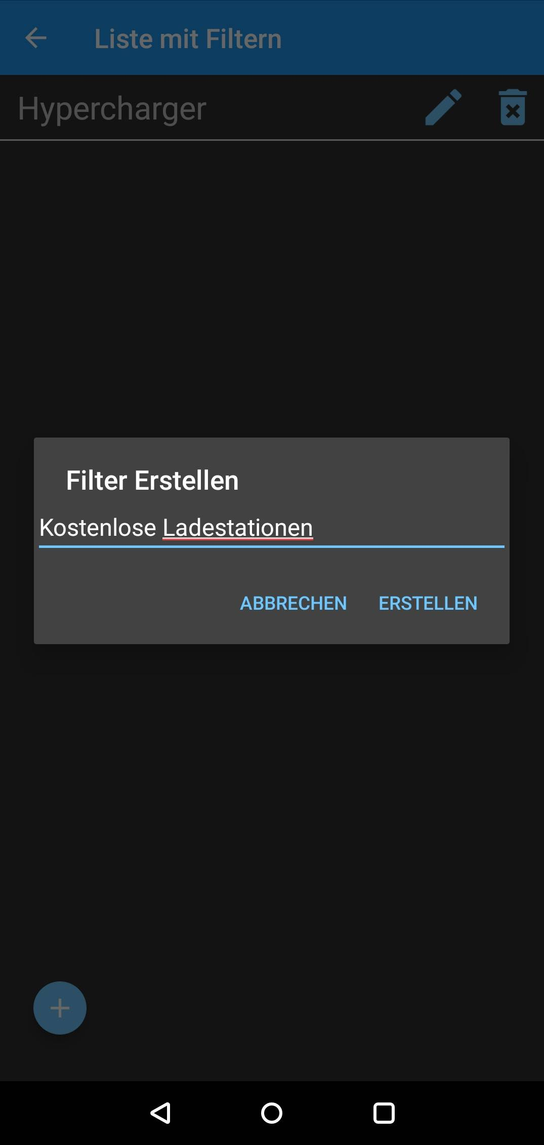 AirElectric (Android) Filter erstellen