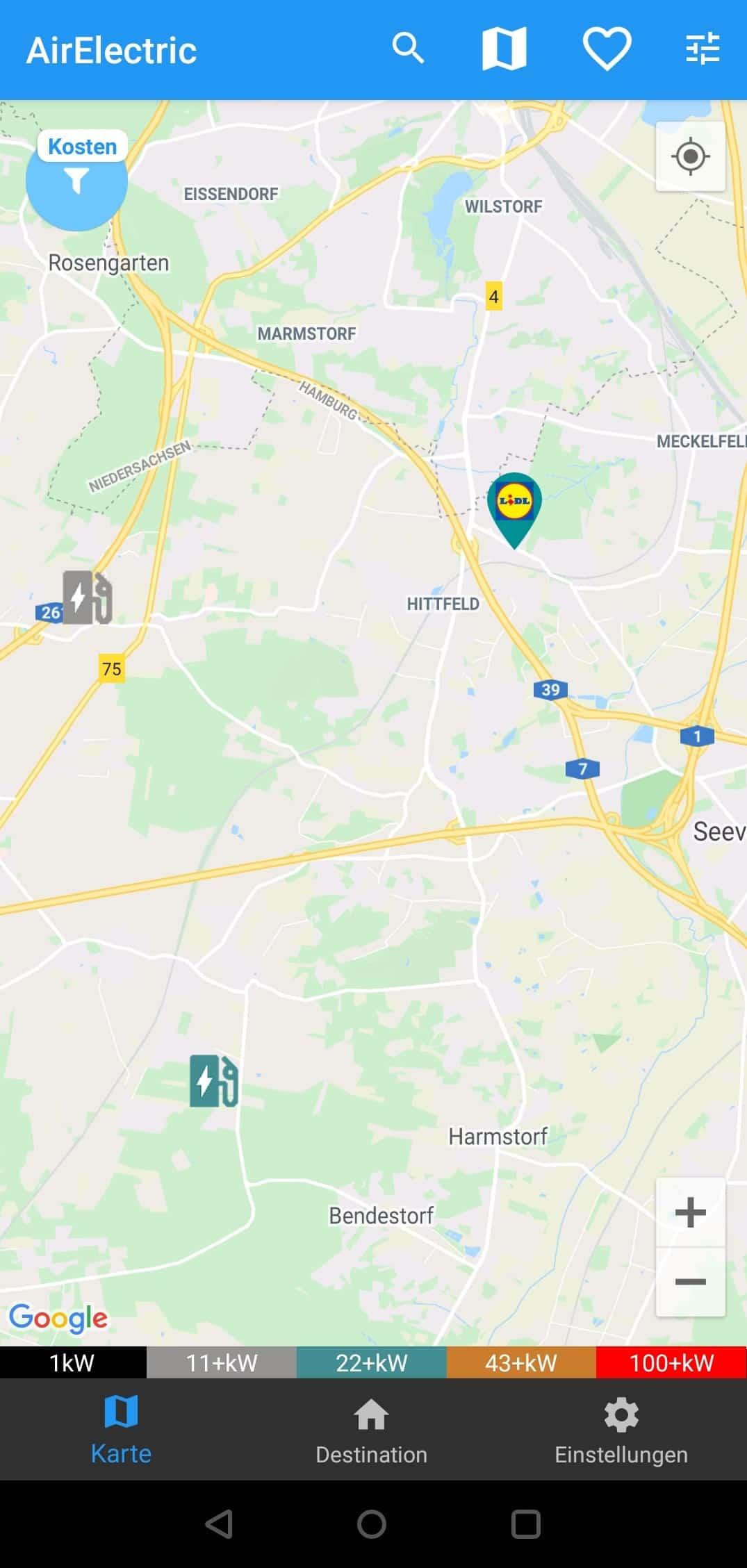 AirElectric (Android) gefilterte Karte mit kostenlosen Ladesäulen